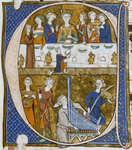 Initiale-C-avec-banquet-et-musiciens